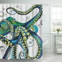 Ulticool Douchegordijn - Octopus Inktvis Zee Natuur - 180 x 200 cm - met 12 ringen - Groen