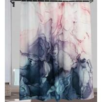 Ulticool Douchegordijn - Pastel Aquarel Abstract Kunst  - 180 x 200 cm - met 12 ringen - Roze