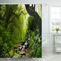 Ulticool Douchegordijn - Regenwoud Natuur Eco Planten Waterval - 180 x 200 cm - met 12 ringen - Groen