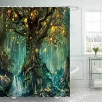 Ulticool Douchegordijn - Sprookje Elf Boom Magisch Bos Natuur - 180 x 200 cm - met 12 ringen - Groen