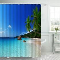Ulticool Douchegordijn - Strand Natuur Zee Eiland Palmboom - 180 x 200 cm - met 12 ringen - Blauw