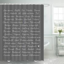 Ulticool Douchegordijn - Tekst Positief Denken Zen Geluk Zelfvertrouwen - 180 x 200 cm - met 12 ringen - Grijs