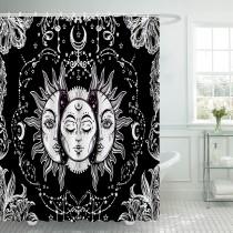 Ulticool Douchegordijn - Zon Maan Zodiac Tarot Natuur Bohemian - 180 x 200 cm - met 12 ringen - Zwart Wit
