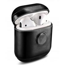 Echt leren AirPod case Uniskull, origineel design, met subtiel ingebouwde hoogwaardige fidget spinner
