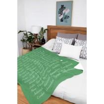 Ulticool Deken Zacht Fleece Flanel - 150 x 200 cm - Plaid Tekst Positief Denken Zen Geluk Zelfvertrouwen - Groen