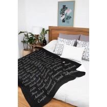Ulticool Deken Zacht Fleece Flanel - 150 x 200 cm - Plaid Tekst Positief Denken Zen Geluk Zelfvertrouwen - Zwart