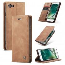 iPhone 7 / 8 / SE 2020 zacht vintage hoesje / case met 2 kaarthouders en geldsleuf lichtbruin