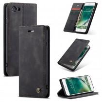 iPhone 7 / 8 / SE 2020 zacht vintage hoesje / case met 2 kaarthouders en geldsleuf zwart