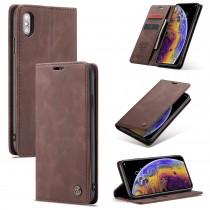 Zacht vintage hoesje / case met 2 kaarthouders en geldsleuf geschikt voor iPhone X / XS bruin