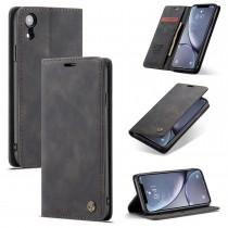 Zacht vintage hoesje / case met 2 kaarthouders en geldsleuf geschikt voor iPhone XR zwart