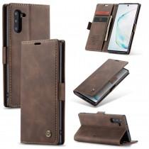 Zacht vintage hoesje / case met 2 kaarthouders en geldsleuf geschikt voor Samsung Galaxy Note 10 bruin