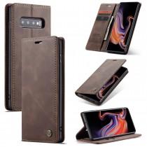 Zacht vintage hoesje / case met 2 kaarthouders en geldsleuf geschikt voor Samsung Galaxy S10+ bruin
