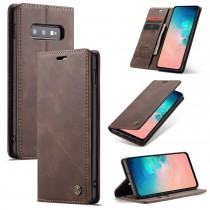 Zacht vintage hoesje / case met 2 kaarthouders en geldsleuf geschikt voor Samsung Galaxy S10e bruin