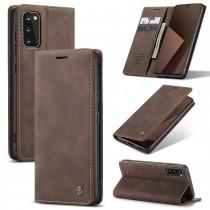 Samsung Galaxy S20 zacht vintage hoesje / case met 2 kaarthouders en geldsleuf bruin