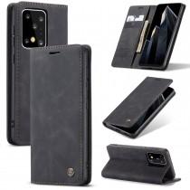 Zacht vintage hoesje / case met 2 kaarthouders en geldsleuf geschikt voor Samsung Galaxy S20 Ultra zwart