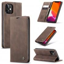 iPhone 12 / 12 Pro zacht vintage hoesje / case met 2 kaarthouders en geldsleuf bruin