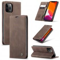 iPhone 12 Pro Max zacht vintage hoesje / case met 2 kaarthouders en geldsleuf bruin