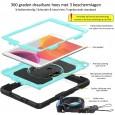iPad 10.2 (2019 & 2020) case / hoes met screenprotector, handriem en schouderriem voor Horeca en Bouw Lichtblauw