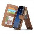 Samsung Galaxy S9 Leren portemonnee hoesje met uitneembare telefoon case bruin